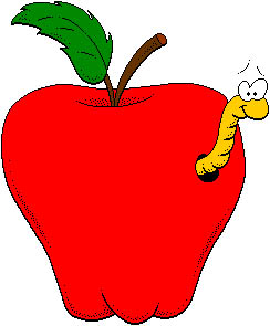 With . Worm clipart apple image free