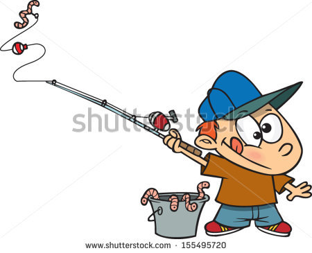Cartoon boy fishing pole. Worm clipart bait bucket vector black and white download