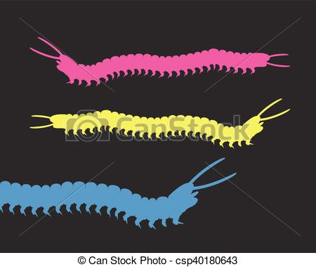 Worm clipart centipede. Colorful millipede worms vector image library stock
