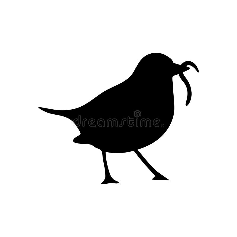 Worm clipart silhouette. Bird and stock vector png freeuse download
