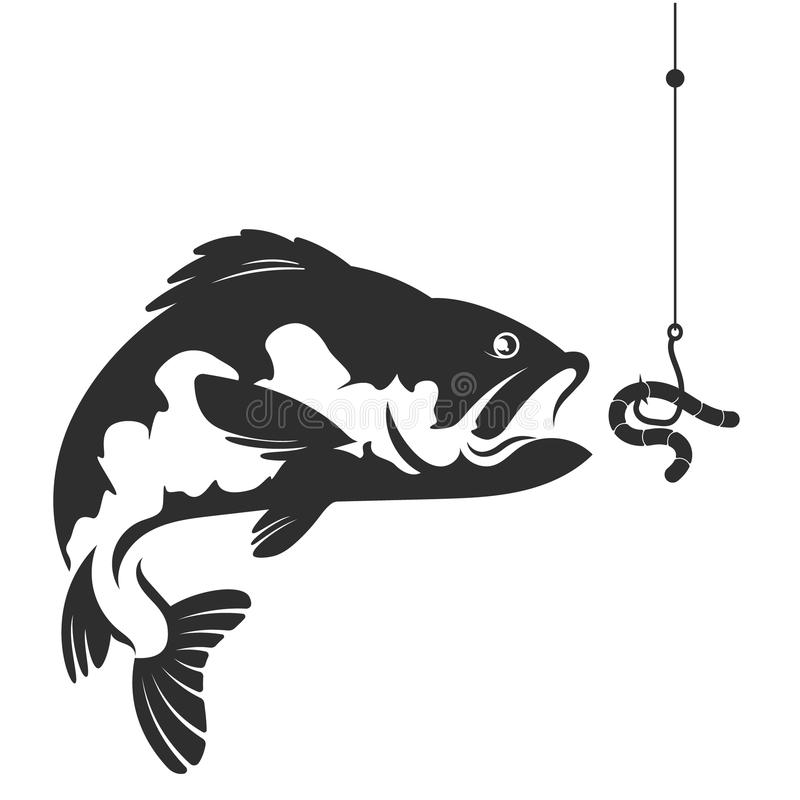 Fish and a worm on a hook stock vector. Illustration of graphic ...