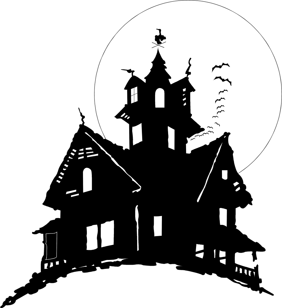 Horror vector halloween. Free mansion cliparts black