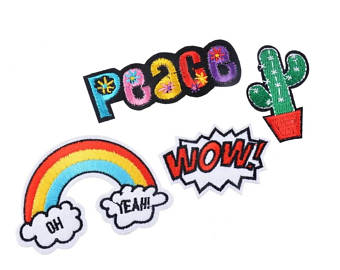 Wow clipart oh yeah. Patch etsy peace rainbow
