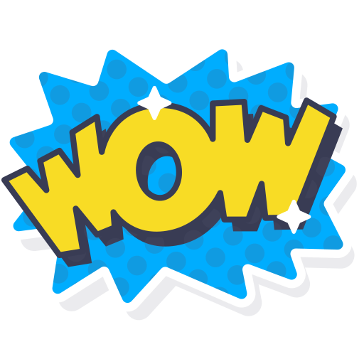 Wow png. Word sticker layer icon