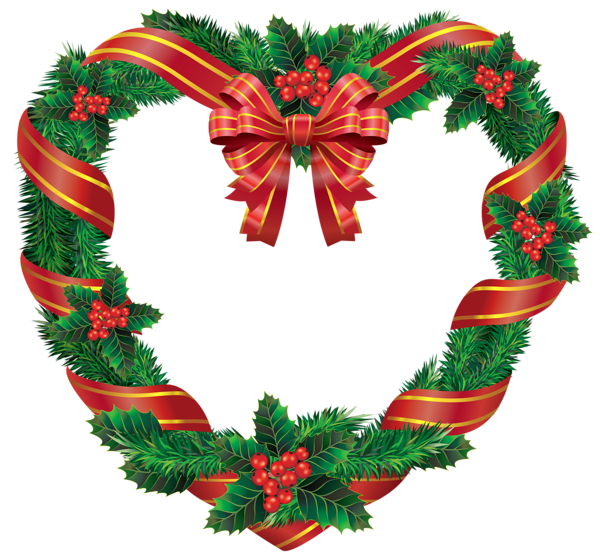 Transparent holly decoration. Christmas heart wreath png
