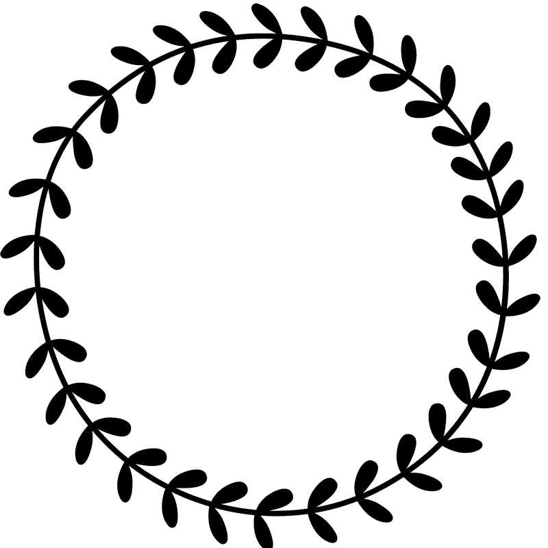 Circle stamp png. Leafy wreath rubber border
