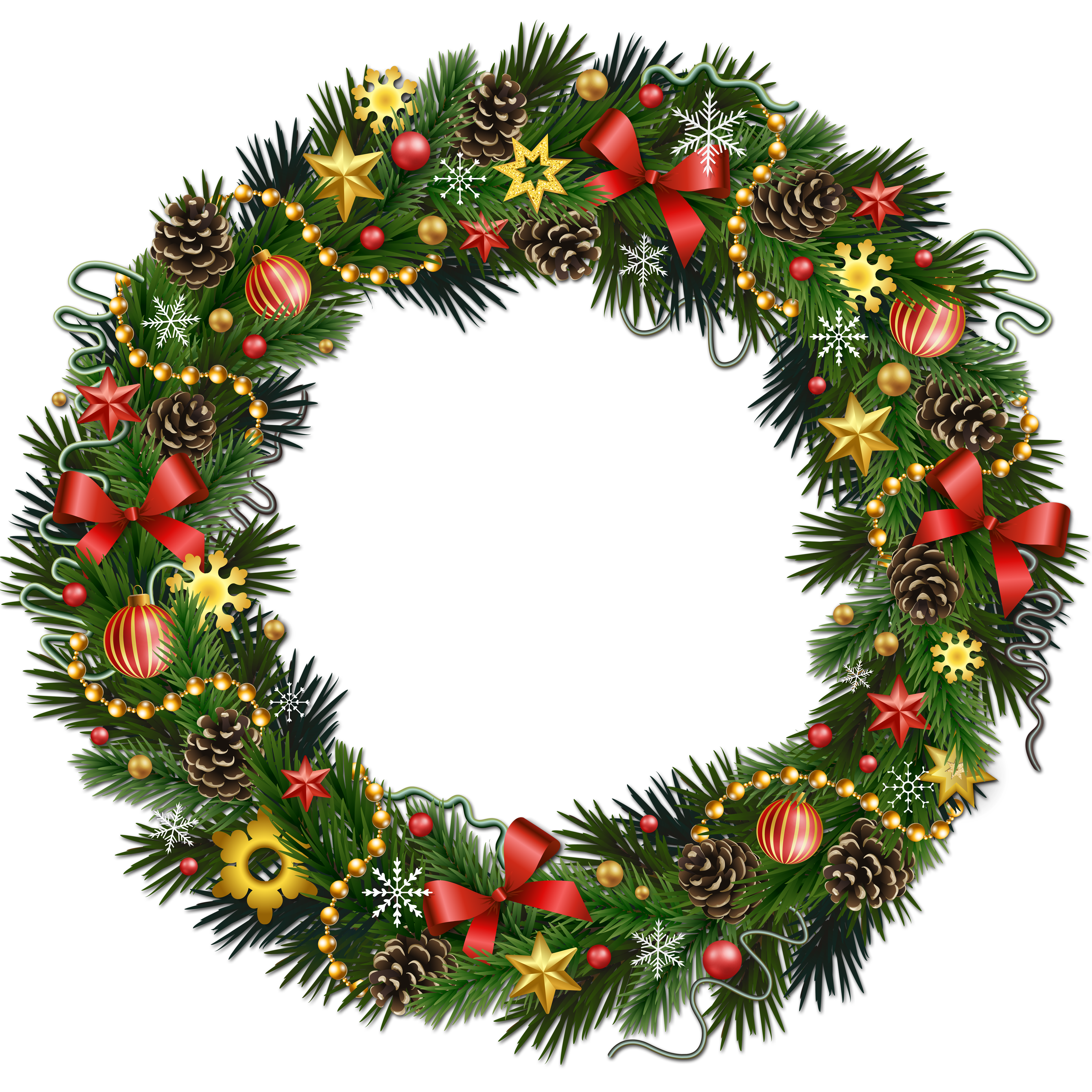 Wreath border png. Transparent christmas pinecone with