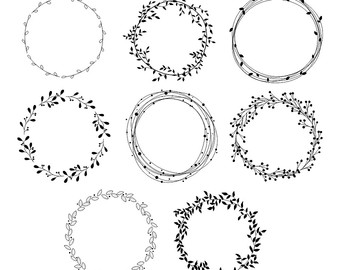 Wreath clipart. Floral etsy hand drawn