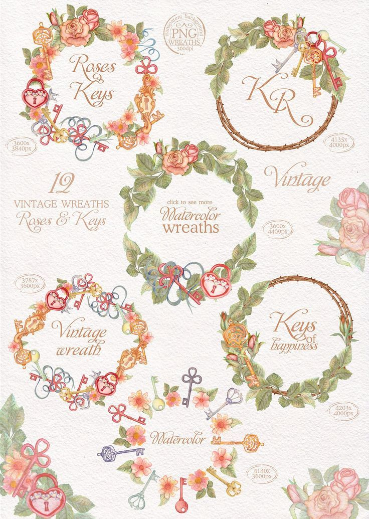 Wreath clipart glitter. Watercolor wreaths set roses