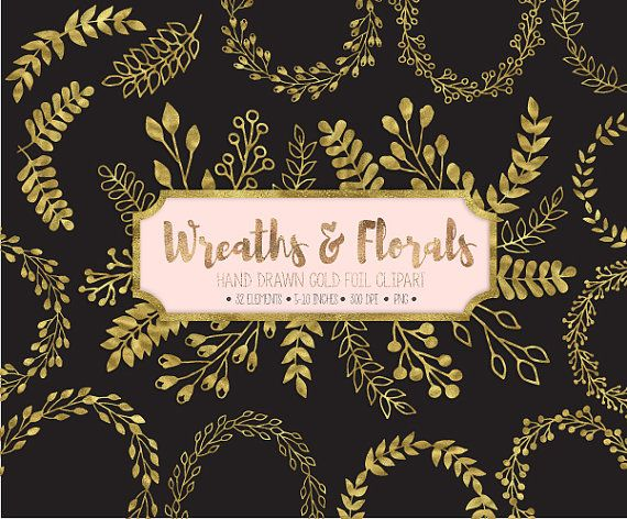 Wreath clipart glitter. Gold wreaths laurels clip