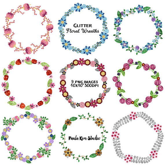 Wreath clipart glitter. Clip art for commercial