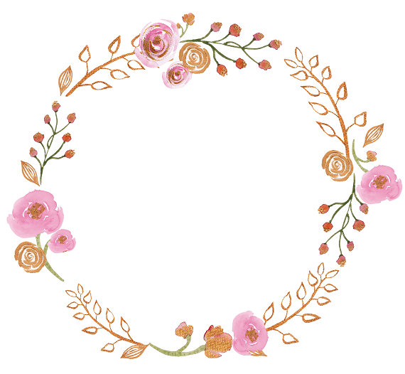 Wreath clipart pink flower. Awesome design floral gold