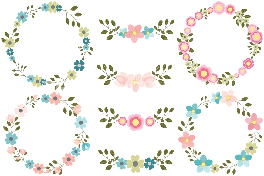 wreath clipart pink flower