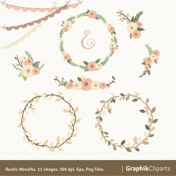 Wreaths Floral Vector Invitations Wreath Clipart Rustic Wedding
