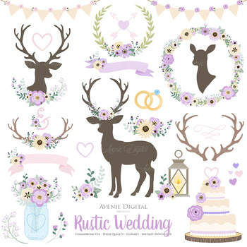 Wreath clipart rustic wedding. Lilac purple deer and