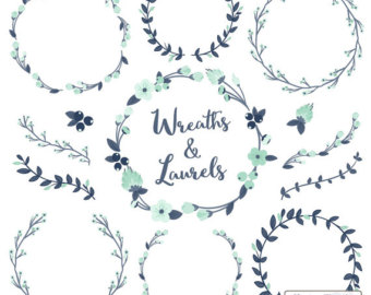 Wreath clipart teal. Floral wreaths laurels in