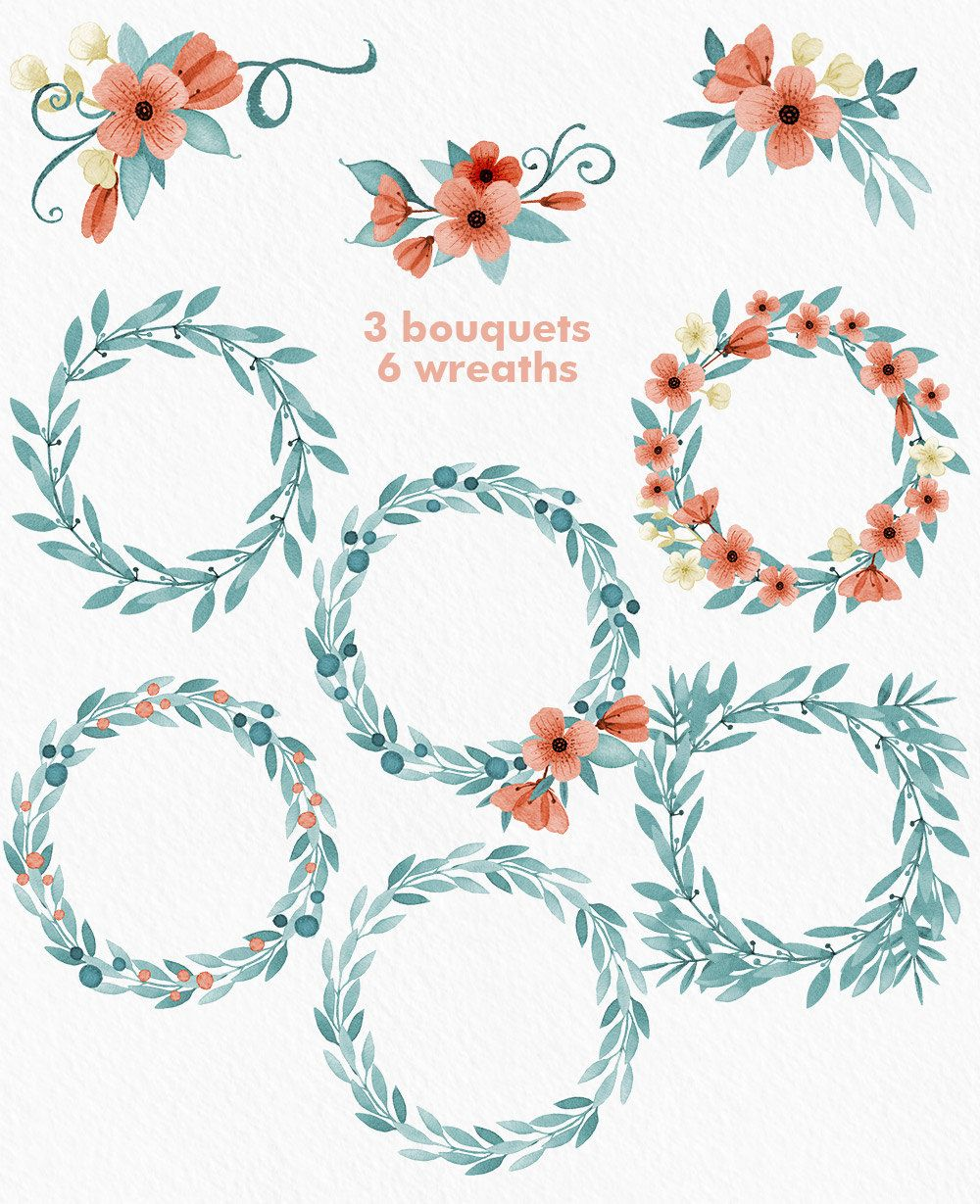Wreath clipart teal. Flower watercolor wedding watercolornomads