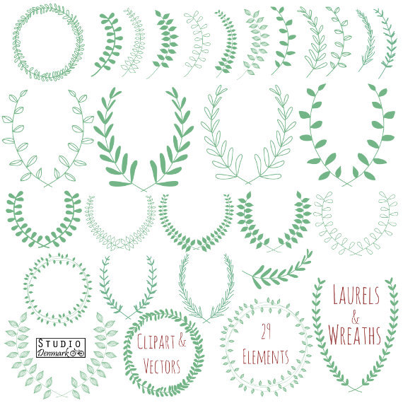 Wreath clipart teal. Laurel and vectors hand