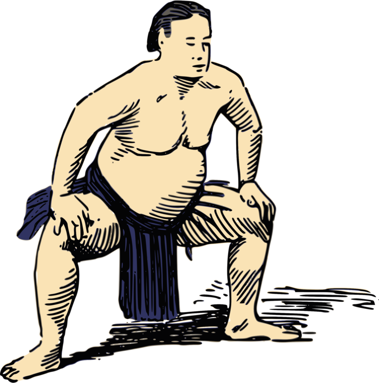 Wrestlers clipart muscular. Sumo wrestling rikishi combat