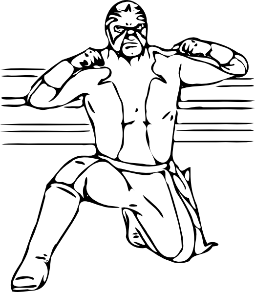 wrestlers vector cartoon drawing