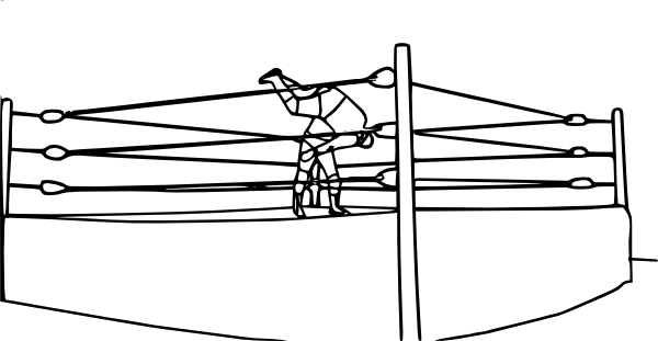 Wrestler drawing outline. Pro wrestling bodyslam clip