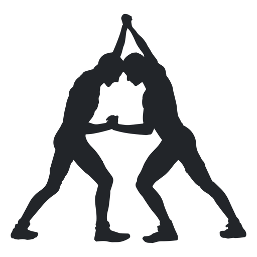 Wrestlers vector. Grappling hold silhouette transparent