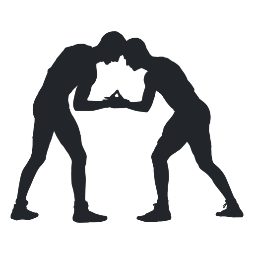 Wrestlers vector. Fighting silhouette transparent png