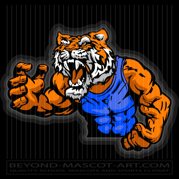 Wrestling clipart tiger. In pose graphic vector