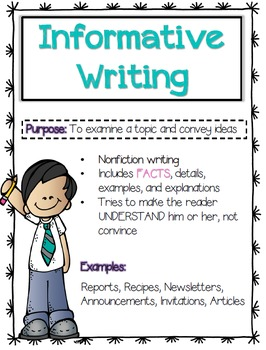 Write clipart informational writing. Anchor chart teaching resources