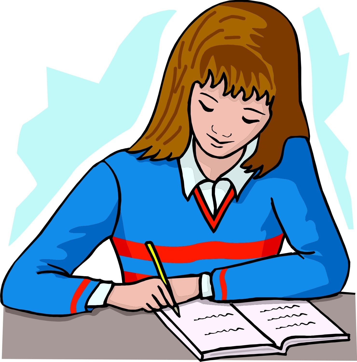 Writer clipart. Better of girl writing