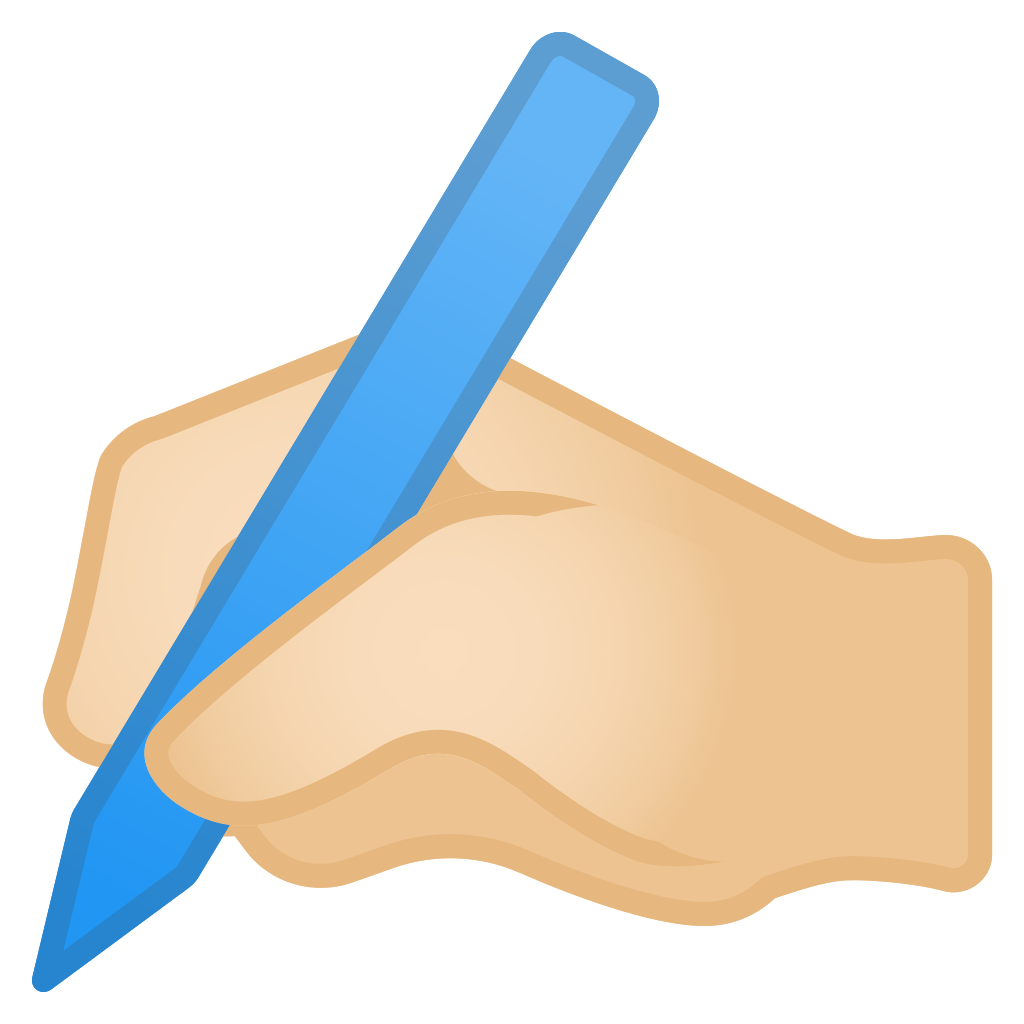 Writing hand png. Light skin tone icon