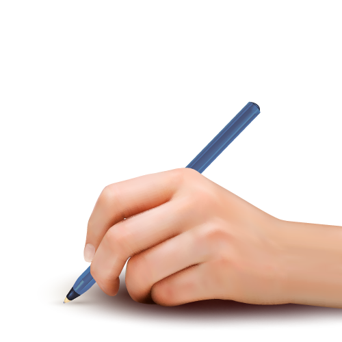 Writing hand with pen png. Paper illustration holding a