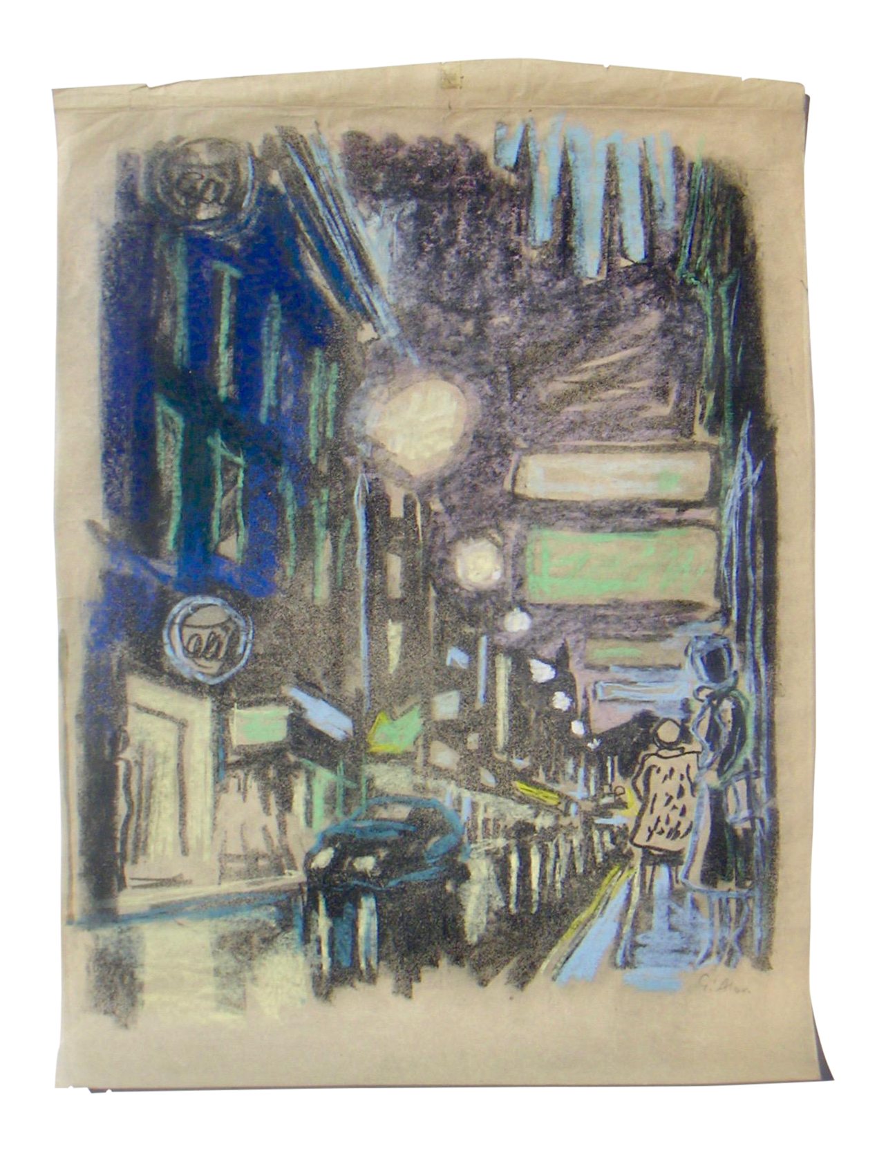 Wwii drawing. City lights chairish