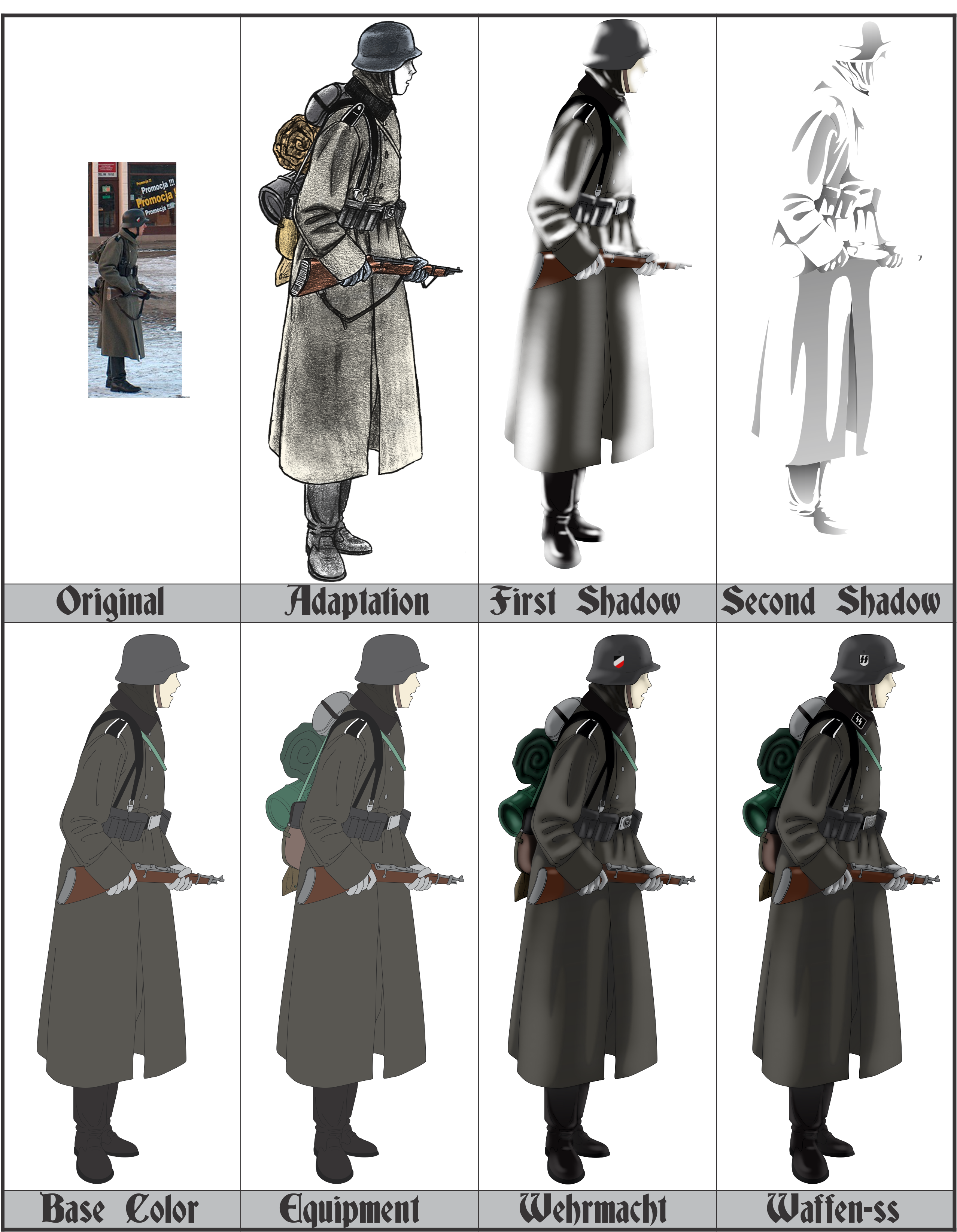 Wwii drawing military. Anime german uniform prosses