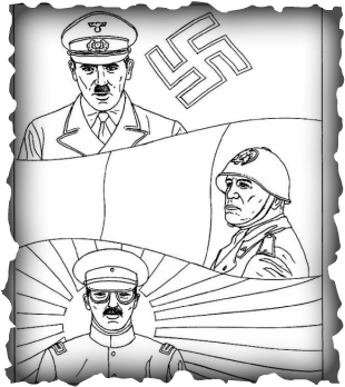 Wwii drawing sketch. Similarities and differences axis