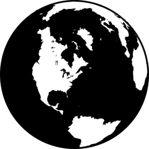 Www vector globe. Black and white clip