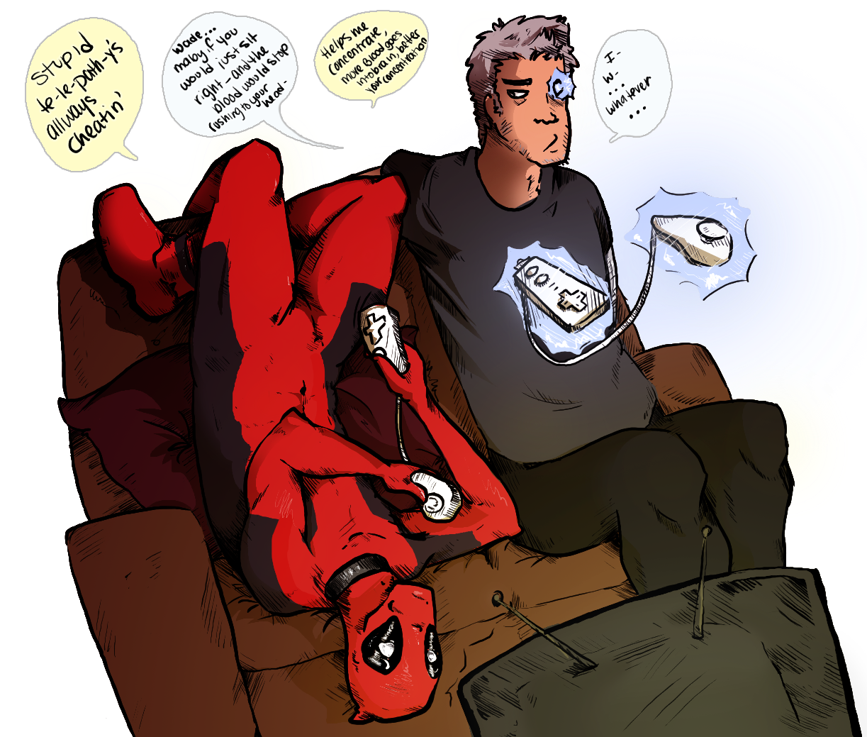 X drawing deadpool. Cable and super smash