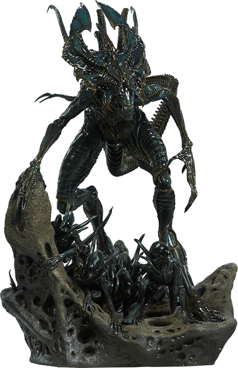 Xenomorph transparent standing. Alien king maquette by
