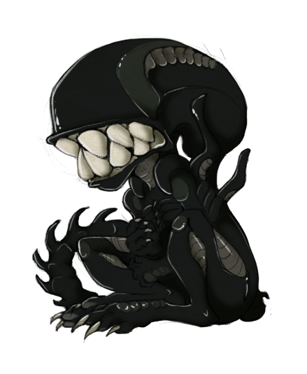 Xenomorph transparent chibi. Lil page doll by