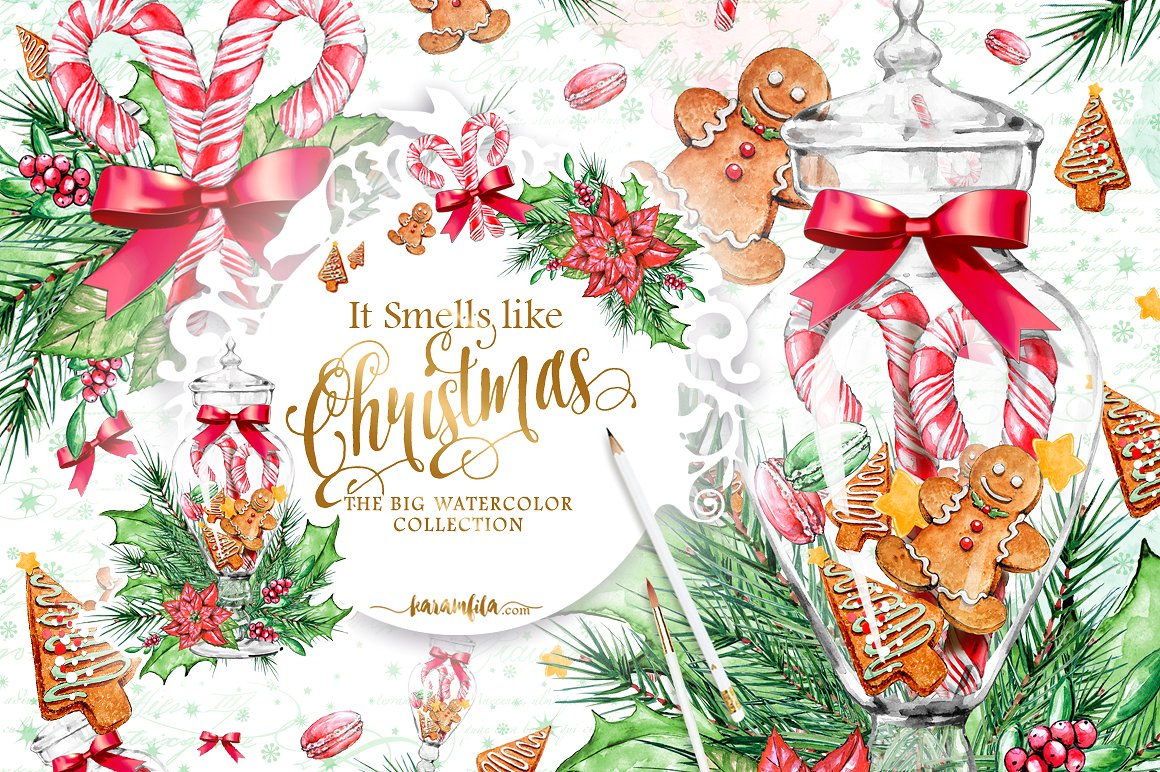 Xmas clipart market. Traditional christmas illustrations creative