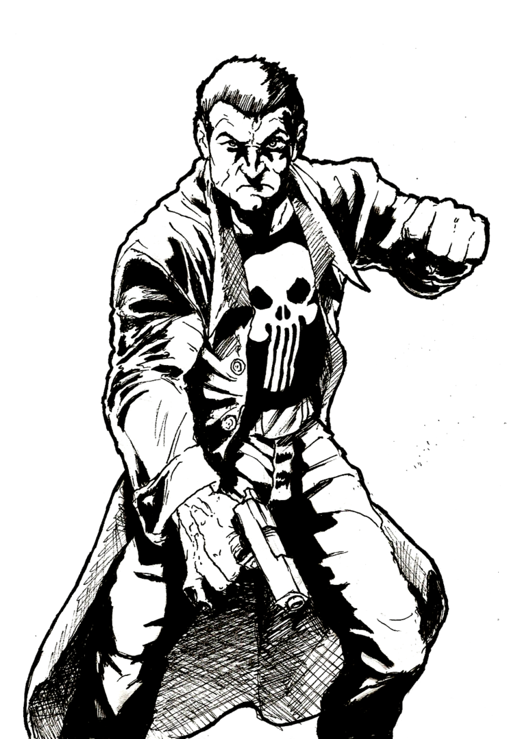 Xmen drawing ink. The punisher by rayluaza