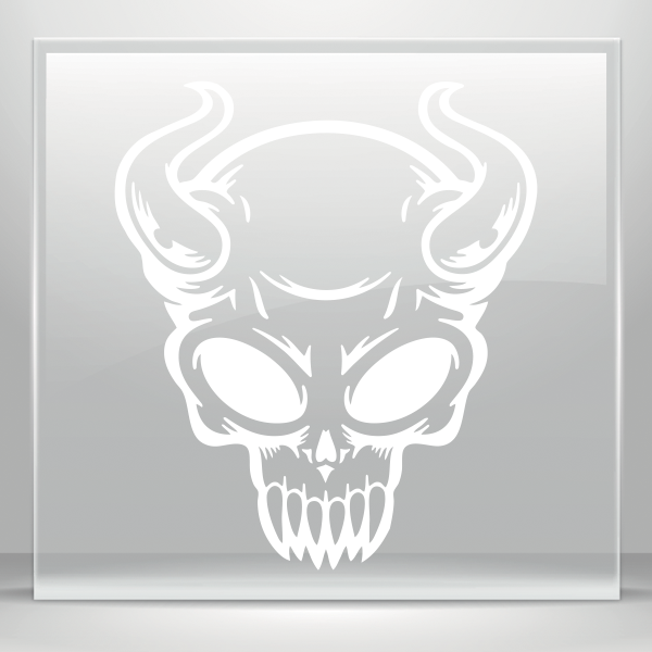 Xray drawing simple skull tattoo. Color vinyl devil stickers