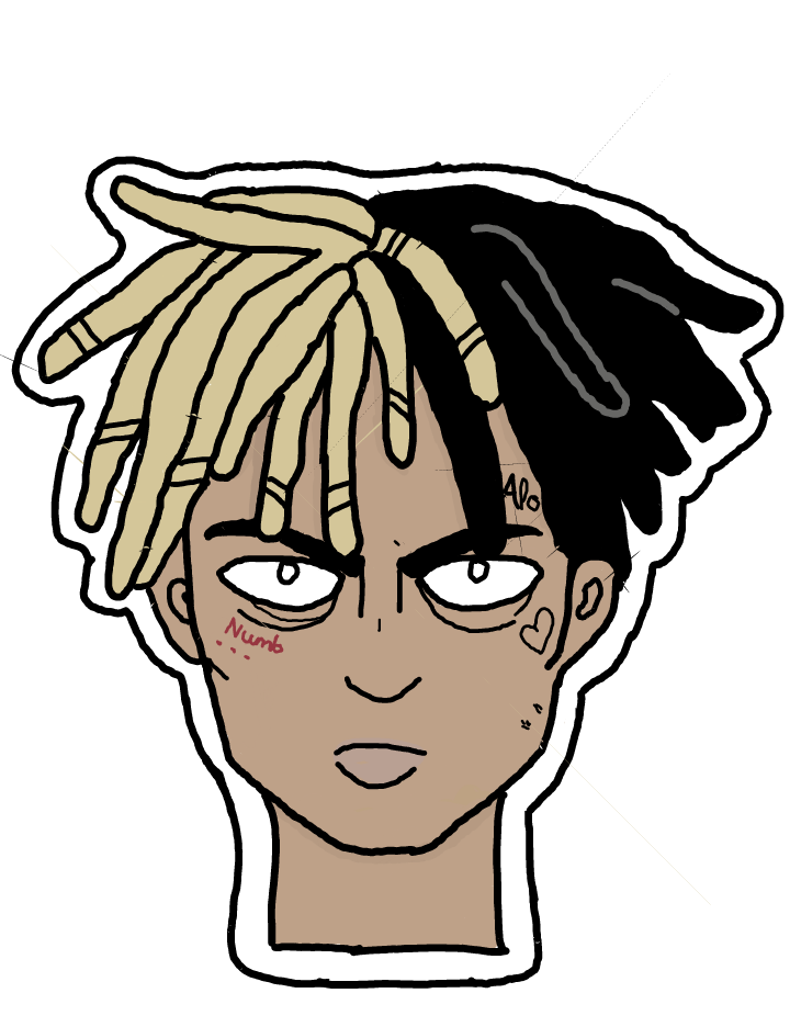 Xxxtentacion face png. Sticker by m r