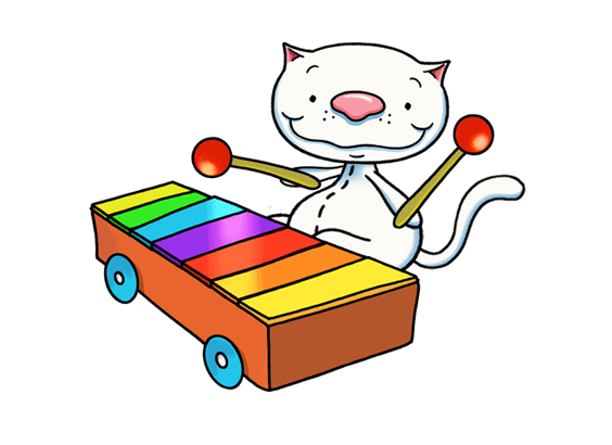 Xylophone clipart baby. Binoo playing the transparent