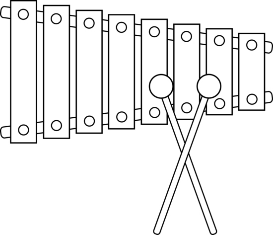 Xylophone drawing outline. Line art free clip