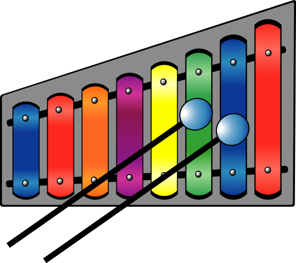 Xylophone drawing cartoon. Colourful clip art at