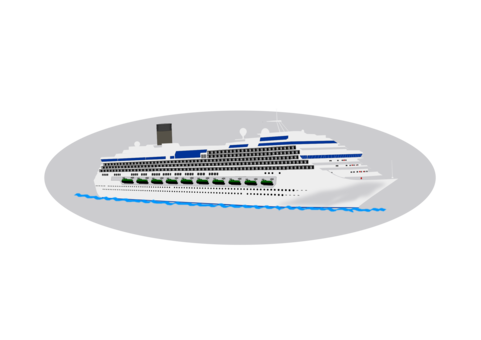 Port drawing cruise ship. Yacht computer icons ocean