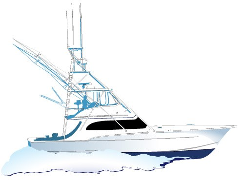 Yacht clipart charter boat. Sportfishing vector side viewspirit