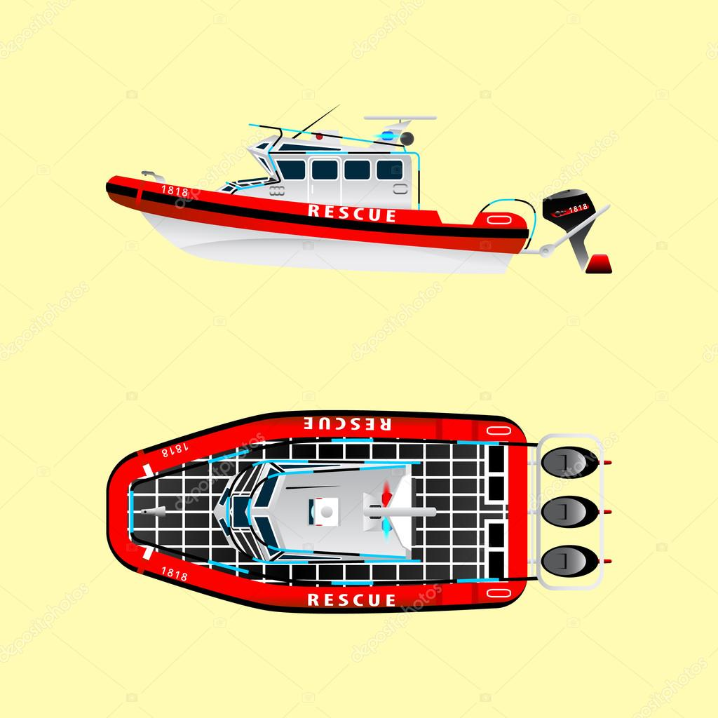 Yacht clipart rescue boat. Red on the water