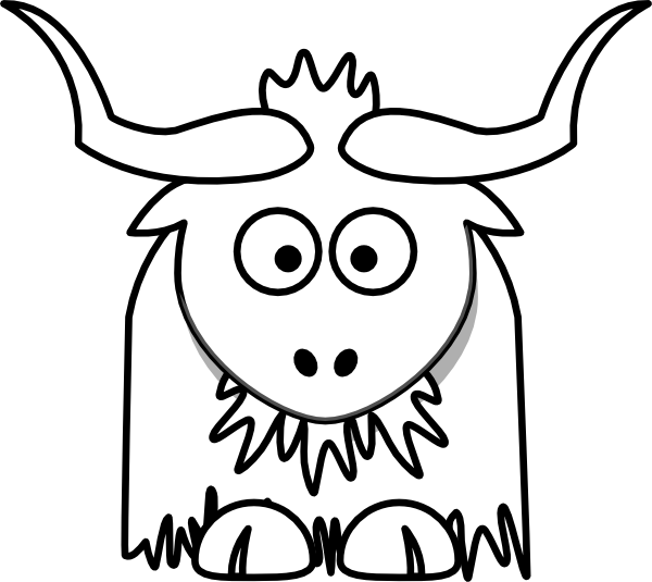 Yak clipart animated. Outline clip art at